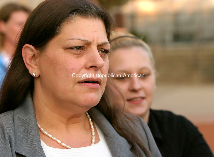WATERBURY, CT-06 NOVEMBER 2006-110606JS02-Cindi Measles, mother of Maryann, talks about the sentence handed down to June Seger, one of the people involved in the killing of Maryann in 1997, as she leaves Waterbury Superior Court on Monday. <br /> Jim Shannon/Republican-American