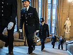 © Joel Goodman - 07973 332324. 05/01/2018. Manchester, UK. A police honour guard lines the stairway to the Great Hall . Police officers and railway workers who came to the aid of victims in the wake of the terrorist attack at an Ariana Grande concert at the Manchester Arena in May 2017 are honoured at a commendation ceremony at the Great Hall at Manchester Town Hall. Amongst those honoured are officers from British Transport Police and Northern Rail staff . Photo credit : Joel Goodman