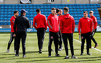 Fleetwood Town's manager Joey Barton relaxing with his players before the match <br /> <br /> Photographer Andrew Kearns/CameraSport<br /> <br /> The EFL Sky Bet League One - Wycombe Wanderers v Fleetwood Town - Saturday 4th May 2019 - Adams Park - Wycombe<br /> <br /> World Copyright © 2019 CameraSport. All rights reserved. 43 Linden Ave. Countesthorpe. Leicester. England. LE8 5PG - Tel: +44 (0) 116 277 4147 - admin@camerasport.com - www.camerasport.com