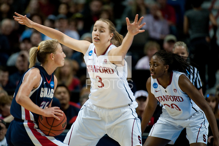 SPOKANE, WA - MARCH 28, 2011:  Mikaela Ruef at the Stanford Women's Basketball vs Gonzaga, NCAA West Regional Finals at the Spokane Arena on March 28, 2011.