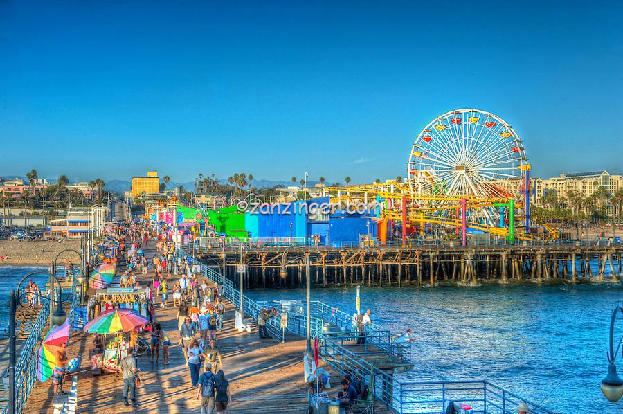 Santa Monica CA, Amusement Park, Roller Coaster, Over Water, Santa Monica Pier, Loews Hotel Pacific Park Amusements, Roller Coaster, Ferris Wheel, Over Water, mix of stores, restaurants,  Beautiful