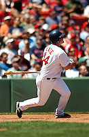 OF Jason Place of the Portland Sea Dogs, the AA E.L. affiliate of the Boston Red Sox, watches as his first AA HR clears the green monster during the Futures at Fenway at Fenway Park in Boston, MA on August 8, 2009 (Photo by Ken Babbitt/Four Seam Images)