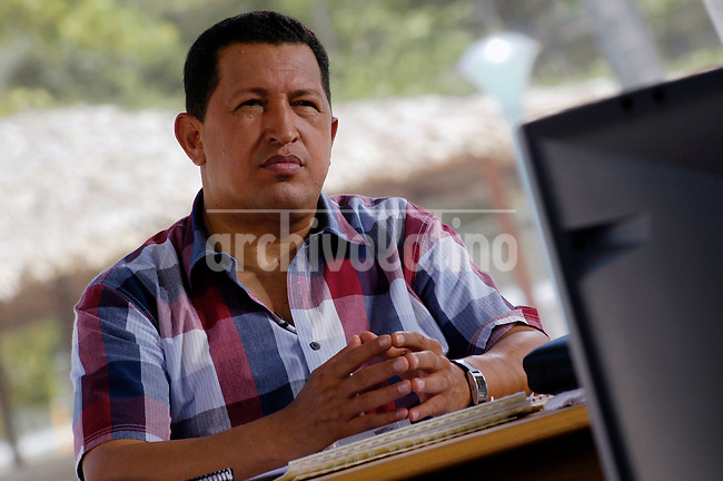 Venezuelan President Hugo Chavez in his Sunday TV program Alo President