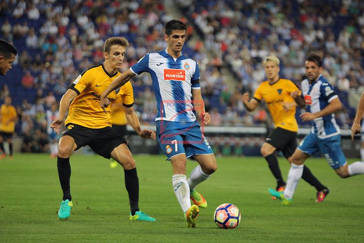 League Santander 2016/2017. Game: 2.<br /> RCD Espanyol vs Malaga CF: 2-2.<br /> Diego Llorente vs Gerard Moreno.