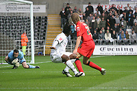 Pictured: Jason Scotland of Swansea City has a shot at goal<br /> Re: Coca Cola Championship, Swansea City Football Club v Watford at the Liberty Stadium, Swansea, south Wales 09 November 2008.<br /> Picture by Dimitrios Legakis Photography (Athena Picture Agency), Swansea, 07815441513
