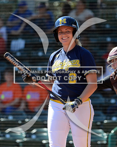 Michigan Wolverines Softball outfielder Brandi Virgil (2) at bat during a game against the Bethune-Cookman on February 9, 2014 at the USF Softball Stadium in Tampa, Florida.  Michigan defeated Bethune-Cookman 12-1.  (Copyright Mike Janes Photography)