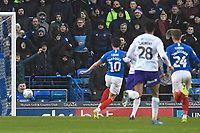 John Marquis of Portsmouth (10) slots the ball home for the second goal during Portsmouth vs Shrewsbury Town, Sky Bet EFL League 1 Football at Fratton Park on 15th February 2020