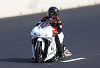 Jul. 20, 2013; Morrison, CO, USA: NHRA pro stock motorcycle rider Steve Johnson during qualifying for the Mile High Nationals at Bandimere Speedway. Mandatory Credit: Mark J. Rebilas-