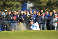 Paul Dunne (IRL) in a bunker on the 1st green during Round 3 of the Betfred British Masters 2019 at Hillside Golf Club, Southport, Lancashire, England. 11/05/19<br /> <br /> Picture: Thos Caffrey / Golffile<br /> <br /> All photos usage must carry mandatory copyright credit (&copy; Golffile | Thos Caffrey