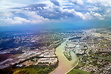 CANADA, Vancouver, British Columbia, aerial view of the Fraser River looking towards Vancouver