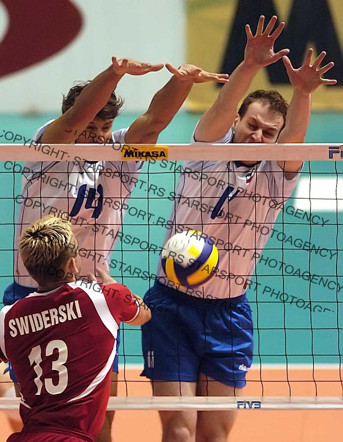 SPORT ODBOJKA VOLLEYBALL WORLD LEAGUE SVETSKA LIGA BEOGRAD BELGRADE POLAND POLJSKA SCG SERBIA MONTENEGRO Miljkovic Bjelica 22.7.2006. foto: Pedja Milosavljevic<br />