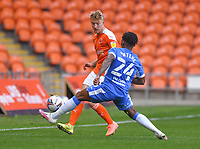 Blackpool's Teddy Howe battles with Barrow's Kgosi Ntlhe<br /> <br /> Photographer Dave Howarth/CameraSport<br /> <br /> EFL Trophy Northern Section Group G - Blackpool v Barrow - Tuesday 8th September 2020 - Bloomfield Road - Blackpool<br />  <br /> World Copyright © 2020 CameraSport. All rights reserved. 43 Linden Ave. Countesthorpe. Leicester. England. LE8 5PG - Tel: +44 (0) 116 277 4147 - admin@camerasport.com - www.camerasport.com