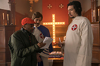 BLACKKKLANSMAN (2018)<br /> Director Spike Lee, Topher Grace and Adam Driver on the set<br /> *Filmstill - Editorial Use Only*<br /> CAP/FB<br /> Image supplied by Capital Pictures