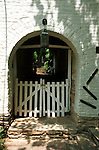 Door arch with white picket fence Waterford Commonwealth of Virginia, Fine Art Photography by Ron Bennett, Fine Art, Fine Art photography, Art Photography, Copyright RonBennettPhotography.com ©