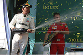 25th March 2018, Melbourne Grand Prix Circuit, Melbourne, Australia; Melbourne Formula One Grand Prix, race day; Mercedes AMG Petronas Motorsport AMG F1 Team; Lewis Hamilton squirts champagne at ferarri drivers