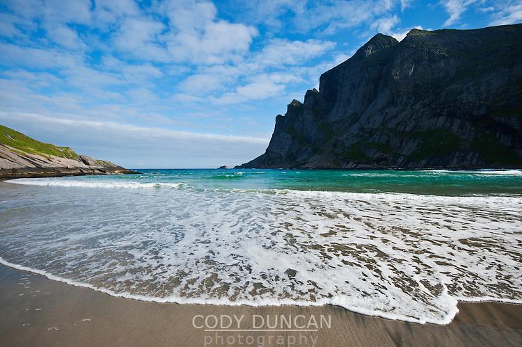 Incoming waves of Bunes beach, Moskenesoy, Lofoten islands, Norway