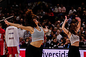 9th February 2018, Wiznik Centre, Madrid, Spain; Euroleague Basketball, Real Madrid versus Olympiacos Piraeus; the cheerleaders of Real Madrid during one of the breaks in the game