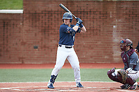 McCann Mellett (9) of the Wingate Bulldogs at bat against the Concord Mountain Lions at Ron Christopher Stadium on February 1, 2020 in Wingate, North Carolina. The Bulldogs defeated the Mountain Lions 8-0 in game one of a doubleheader. (Brian Westerholt/Four Seam Images)