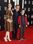 HOLLYWOOD, CA - NOVEMBER 13: Musician/composer Danny Elfman (C) and guests arrive at the Premiere Of Warner Bros. Pictures' 'Justice League' at the Dolby Theatre on November 13, 2017 in Hollywood, California.