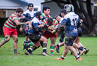 Action from the Wellington senior one club rugby match between Petone and Hutt Old Boys Marist at Petone Rec in Petone, New Zealand on Saturday, 21 July 2018. Photo: Dave Lintott / lintottphoto.co.nz
