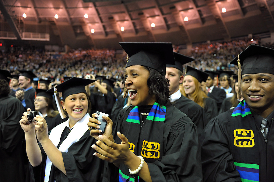 Students cheer as President Barack Obama enters the Joyce Center for the 2009 Commencement ceremony...Photo by Matt Cashore/University of Notre Dame