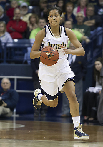 December 29, 2012:  Notre Dame guard Skylar Diggins (4) dribbles the ball during NCAA Women's Basketball game action between the Notre Dame Fighting Irish and the Purdue Boilermakers at Purcell Pavilion at the Joyce Center in South Bend, Indiana.  Notre Dame defeated Purdue 74-47.