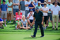 &Aacute;ngel Cabrera (ARG) and fans react to a missed putt on 16  during round 2 of the Valero Texas Open, AT&amp;T Oaks Course, TPC San Antonio, San Antonio, Texas, USA. 4/21/2017.<br /> Picture: Golffile | Ken Murray<br /> <br /> <br /> All photo usage must carry mandatory copyright credit (&copy; Golffile | Ken Murray)