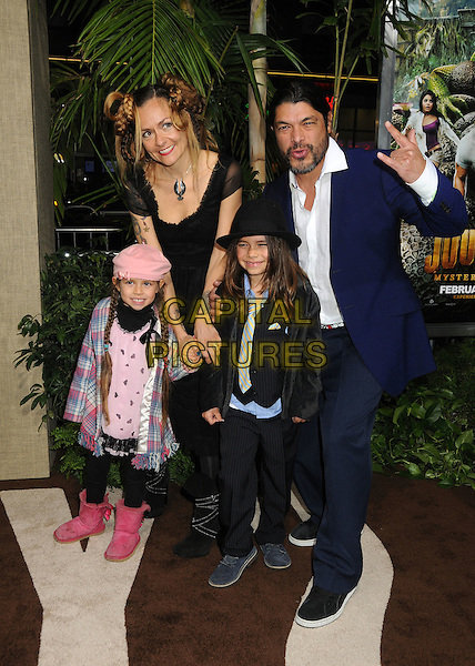 "Robert Trujillo & family.""Journey 2: The Mysterious Island"" Los Angeles Premiere held at Grauman's Chinese Theatre, Hollywood, California, USA..February 2nd, 2012.full length blue suit kids children hand arm pink hat.CAP/ADM/BP.©Byron Purvis/AdMedia/Capital Pictures."