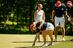 STILLWATER, OK - MAY 23: Sandra Nordaas of Arizona speaks with a rule official about her lie in relation to the fringe on the 9th green during the Division I Women's Golf Team Match Play Championship held at the Karsten Creek Golf Club on May 23, 2018 in Stillwater, Oklahoma. (Photo by Shane Bevel/NCAA Photos via Getty Images)