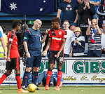 Referee Bobby Madden tells Nathan Oduwa to calm it after doing tricks