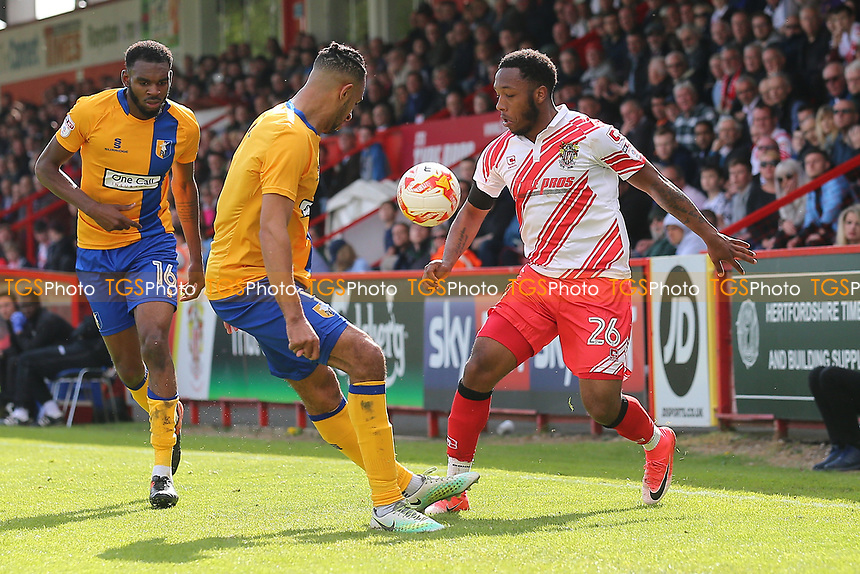 Kaylen Hinds of Stevenage and Rhys Bennett of Mansfield Town during Stevenage vs Mansfield Town, Sky Bet EFL League 2 Football at the Lamex Stadium on 22nd April 2017