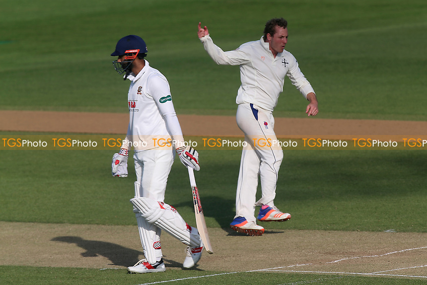 Frederic Simon of Durham celebrates taking the wicket of Varun Chopra during Essex CCC vs Durham MCCU, English MCC University Match Cricket at The Cloudfm County Ground on 3rd April 2017