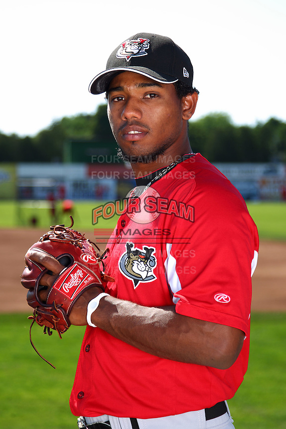 Tri-City ValleyCats pitcher Dayan Diaz #12 poses for a photo before a game against the Batavia Muckdogs at Dwyer Stadium on July 15, 2011 in Batavia, New York.  Batavia defeated Tri-City 4-3.  (Mike Janes/Four Seam Images)