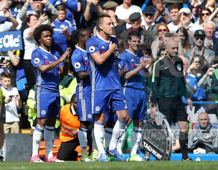 Chelsea's John Terry gets substituted in the 26th minute during the Premier League match at Stamford Bridge Stadium, London. Picture date: May 18th, 2017. Pic credit should read: David Klein/Sportimage