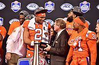 Charlotte, NC - DEC 2, 2017: Clemson Tigers quarterback Kelly Bryant (2) wins the MVP award after winning the ACC Championship game over Miami 38-3 at Bank of America Stadium Charlotte, North Carolina. (Photo by Phil Peters/Media Images International)