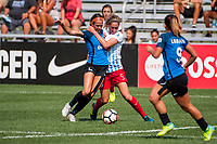 Kansas City, MO - Wednesday August 16, 2017: Shea Groom, Morgan Brian during a regular season National Women's Soccer League (NWSL) match between FC Kansas City and the Chicago Red Stars at Children's Mercy Victory Field.