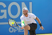 June 17th 2017, Nottingham, England; ATP Aegon Nottingham Open Tennis Tournament day 6;  Low forehand from Sam Groth of Australia who lost to Thomas Fabbiano of Italy in two sets
