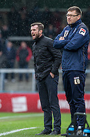 Luton Town Manager Nathan Jones (left) shouts instructions during the Sky Bet League 2 match between Wycombe Wanderers and Luton Town at Adams Park, High Wycombe, England on 6 February 2016. Photo by Andy Rowland.