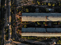 Aerial view of wineries and mills in the ejido La Victoria. train tracks, railroad...<br /> <br /> Vista a&eacute;rea de bodegas y molinos en el ejido la Victoria.  vias de tren, ferrocarril. <br /> <br />  (Foto: Luis Gutierrez / NortePhoto.com)
