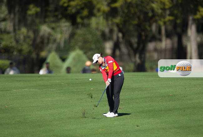 Ha Na Jang  hits a shot down 18 at the end of the continuation of the Second round of the LPGA Coates Golf Championship 2016 , from the Golden Ocala Golf and Equestrian Club, Ocala, Florida. 5/2/16<br /> Picture: Mark Davison | Golffile<br /> <br /> <br /> All photos usage must carry mandatory copyright credit (&copy; Golffile | Mark Davison)