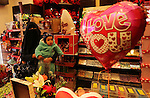 Palestinian vendors display flowers, red teddy bears, red ballons and pillows on Valentine's day in Gaza city on February 14, 2017. Valentine's Day is increasingly popular in the region as people have taken up the custom of giving flowers, cards, chocolates and gifts to sweethearts to celebrate the occasion. Photo by Ashraf Amra