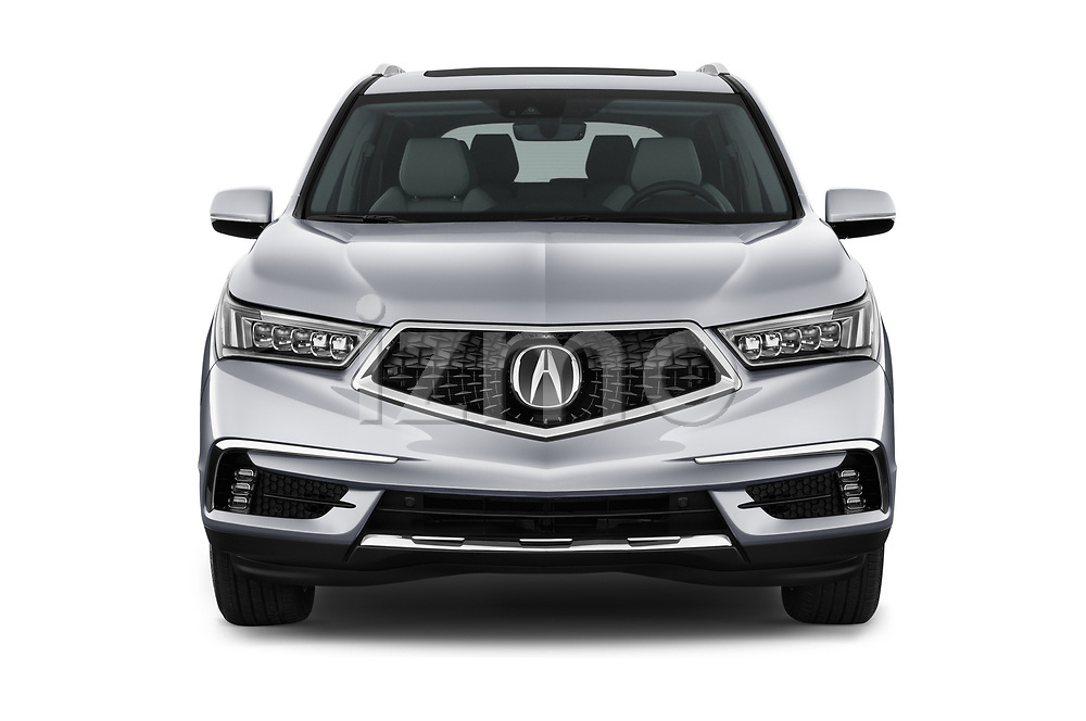 Car photography straight front view of a 2017 Acura MDX Sport Hybrid SH-AWD Advance Package 5 Door SUV