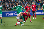 13.04.2019, Weser Stadion, Bremen, GER, 1.FBL, Werder Bremen vs SC Freiburg, <br /> <br /> DFL REGULATIONS PROHIBIT ANY USE OF PHOTOGRAPHS AS IMAGE SEQUENCES AND/OR QUASI-VIDEO.<br /> <br />  im Bild<br /> <br /> Nuri Sahin (Werder Bremen #17)<br /> Florian Niederlechner (SC Freiburg #7)<br /> <br /> Foto &copy; nordphoto / Kokenge