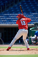 Philadelphia Phillies right fielder Jhailyn Ortiz (13) at bat during a Florida Instructional League game against the Toronto Blue Jays on September 24, 2018 at Spectrum Field in Clearwater, Florida.  (Mike Janes/Four Seam Images)