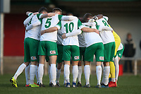 Bognor players huddle during Hornchurch vs Bognor Regis Town, BetVictor League Premier Division Football at Hornchurch Stadium on 30th November 2019