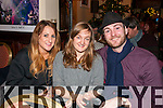 Justine King, Emma Gleeson and Sean Gill enjoying Other Voices live streaming at Benners Hotel, Dingle, over the weekend.