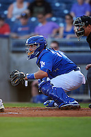 Tulsa Drillers catcher Ali Solis (24) during a game against the Midland RockHounds on June 2, 2015 at Oneok Field in Tulsa, Oklahoma.  Midland defeated Tulsa 6-5.  (Mike Janes/Four Seam Images)