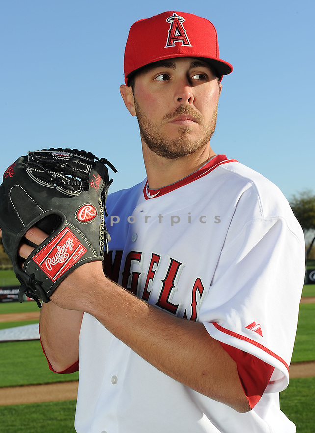 Los Angeles Angels Michael Kohn (58) during media photo day on February 21, 2013 at spring training in Tempe, AZ.