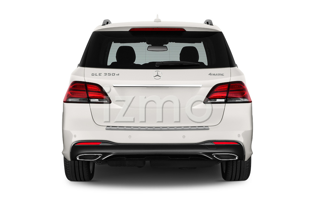 Straight rear view of 2016 Mercedes Benz GLE-Class 5 Door SUV Rear View  stock images