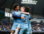 David Silva of Manchester City celebrates scoring the first goal with Leroy Sane of Manchester City during the English Premier League match at the Etihad Stadium, Manchester. Picture date: May 6th 2017. Pic credit should read: Simon Bellis/Sportimage